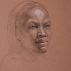 Catherine Lucas graphite drawing study of face