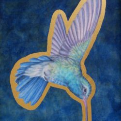 Catherine Lucas Egg tempera painting of hummingbird